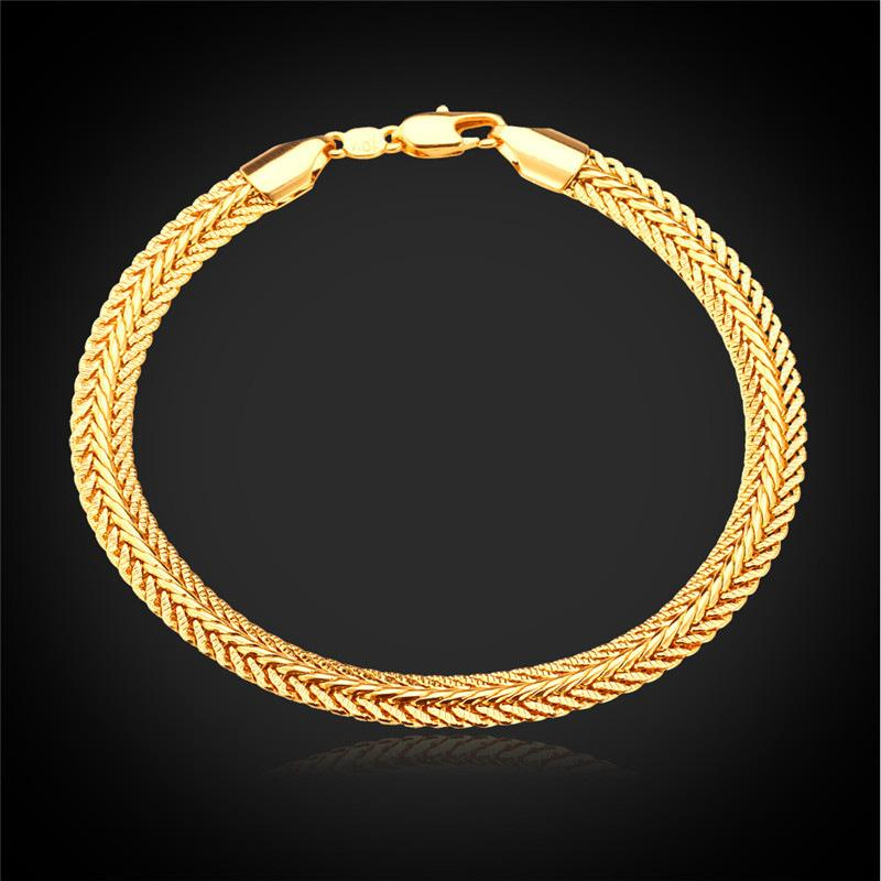 New Trendy Foxtail Chains Bracelets for Men with 18K GoldRose Gold