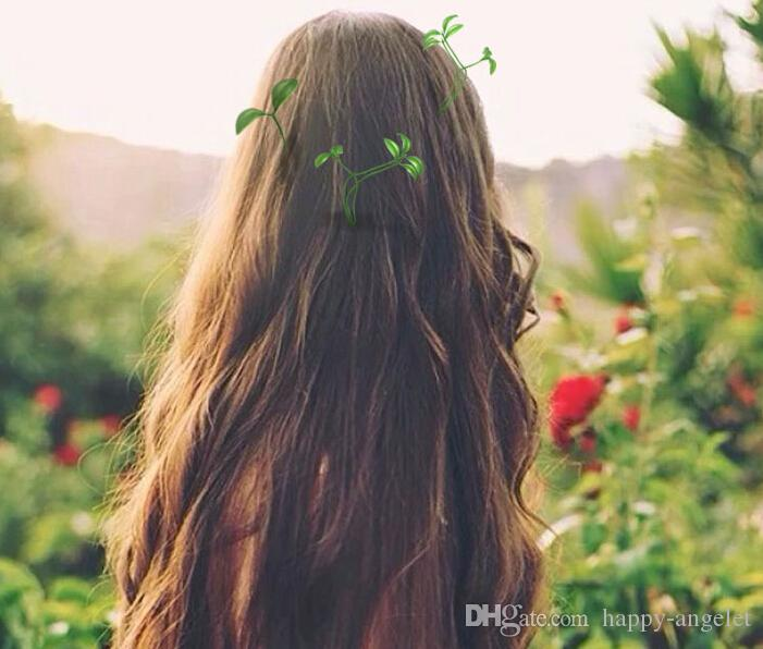 Le plus récent belles plantes fantaisie cheveux clips herbe couvre-chef petit bourgeon antenne haricots herbe épingles à cheveux chanceux fête champignon pousse HD3401 en épingle à cheveux