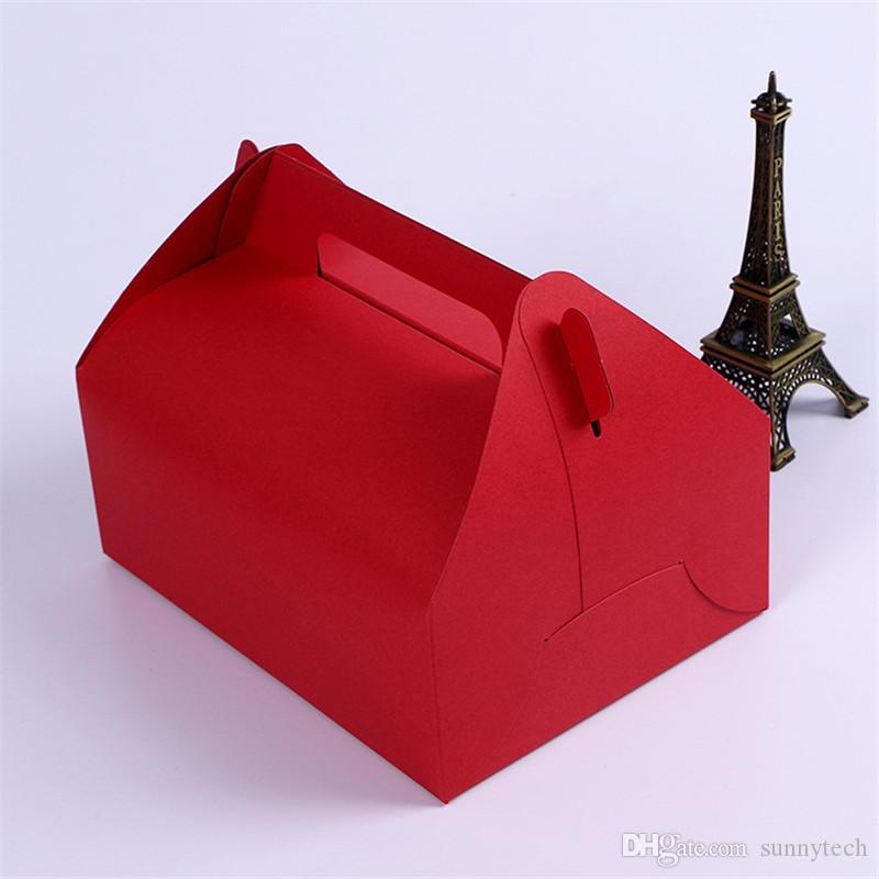 Tamanho grande 20 * 15 * 8 cm Boutique Bolo de Comida Caixa De Papel Kraft Com Alça de Casamento Favor de Partido Presentes Doces Caixas De Embalagem Supplie LZ0750