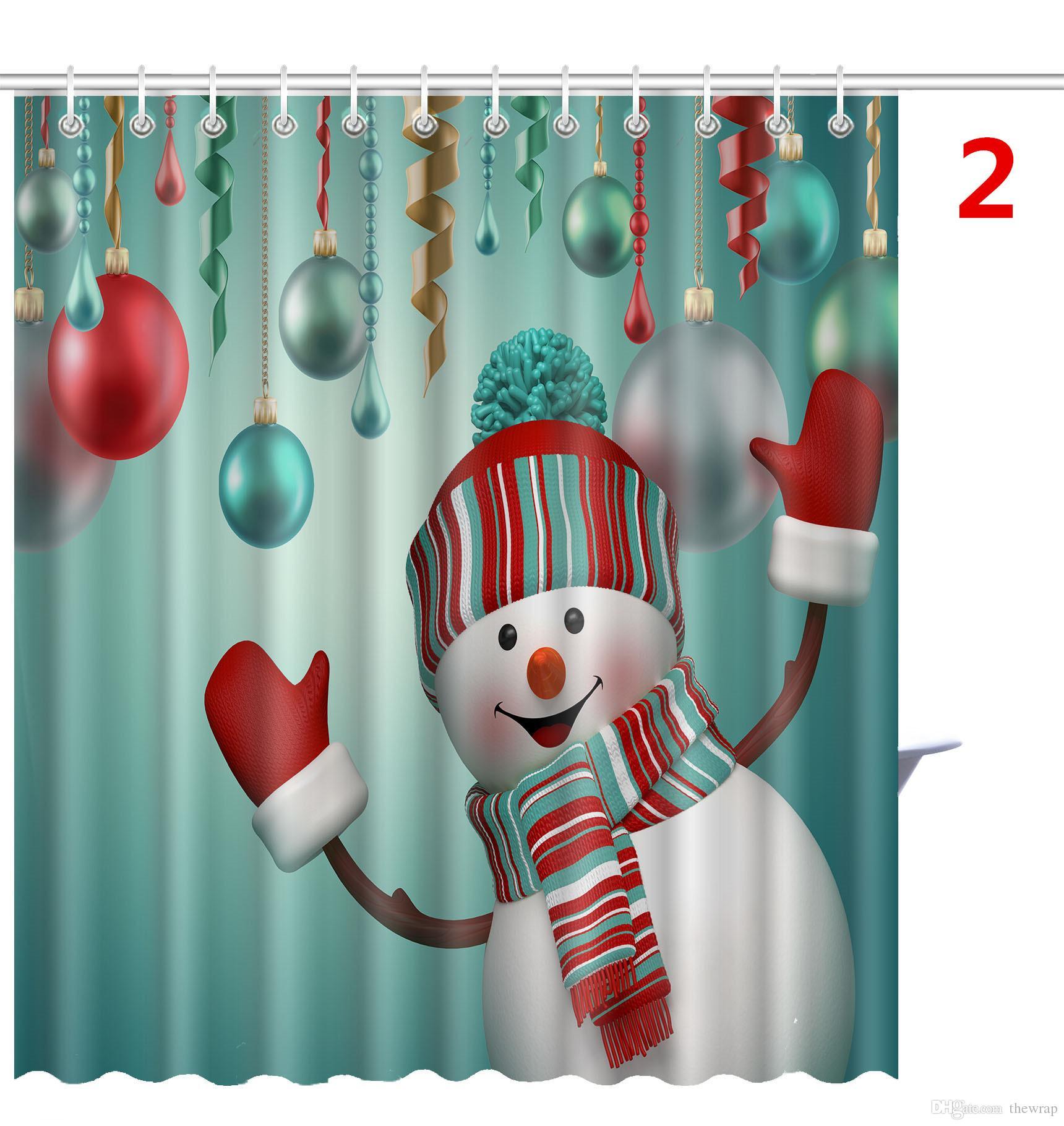 Bonecos de neve do Natal Do Boneco De Neve Papai Noel Árvore de Natal Boneco de Neve Projetos À Prova D 'Água Do Banheiro Cortinas de Chuveiro Com 12 ganchos Por DHL