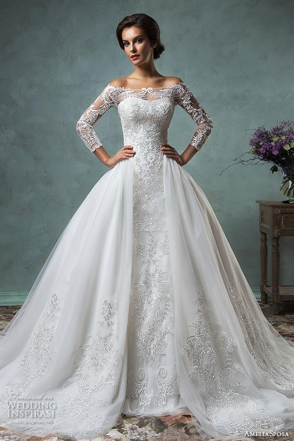 Datchable Overskirt Off The Shoulders Long Sleeves Lace Wedding Dresses 2017 Amelia Sposa Bridal Mermaid Gowns Sweetheart Ball Gown