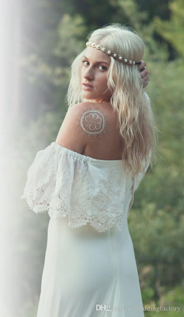 Новые богемные свадебные платья повседневные Boho Bridal Presss A The Leath Leath от плечевой шнуровки невесты Носить портрет поезда