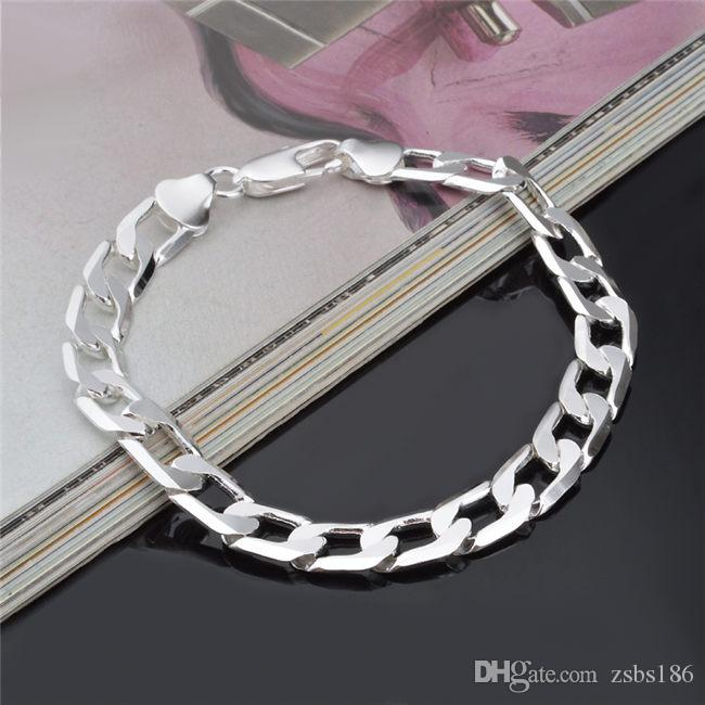 Top quality 8MM 925 Sterling silver plated Figaro chain bracelet Fashion Men's Jewelry Factory price