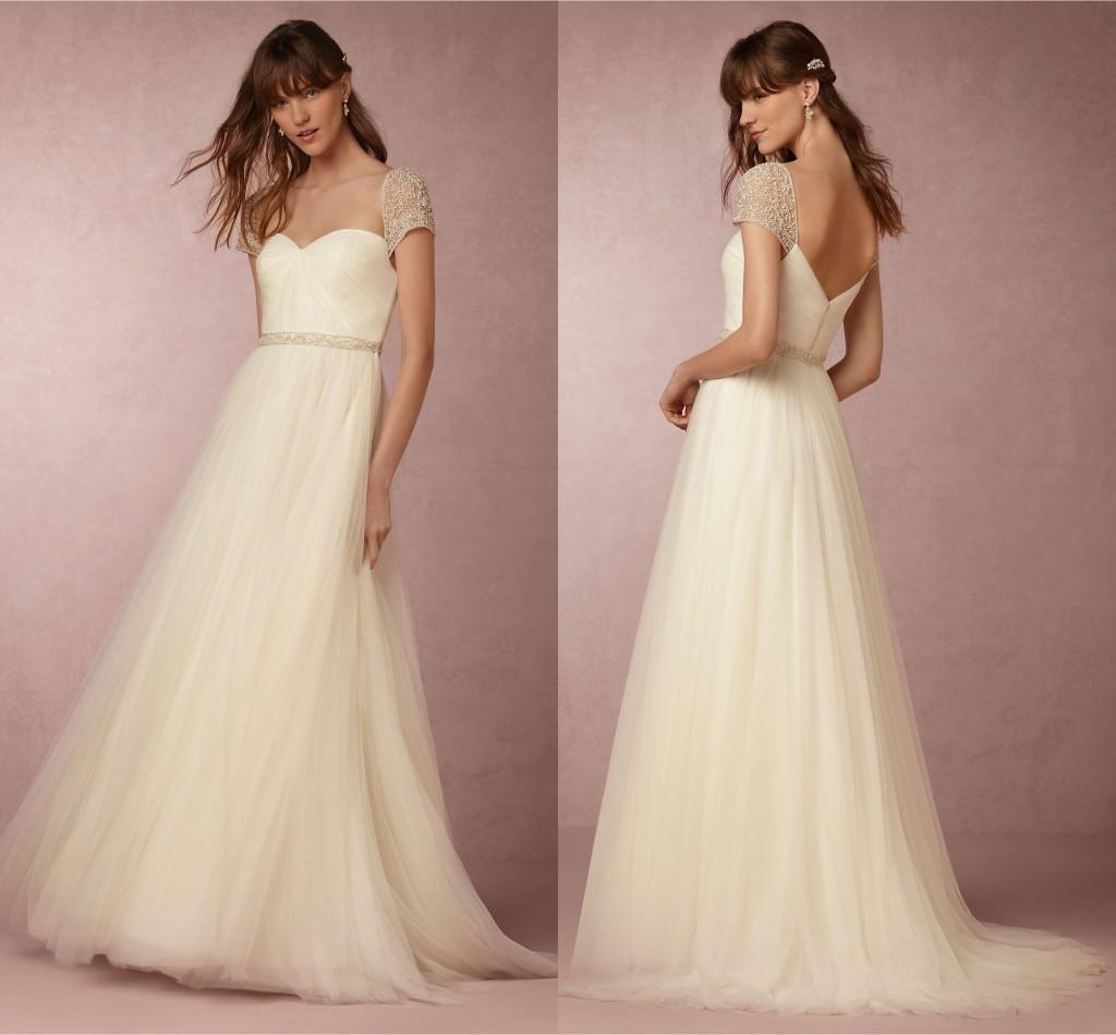 Discount 2018 Bhldn Bohemian Wedding Dresses Cap Sleeve Beaded ...