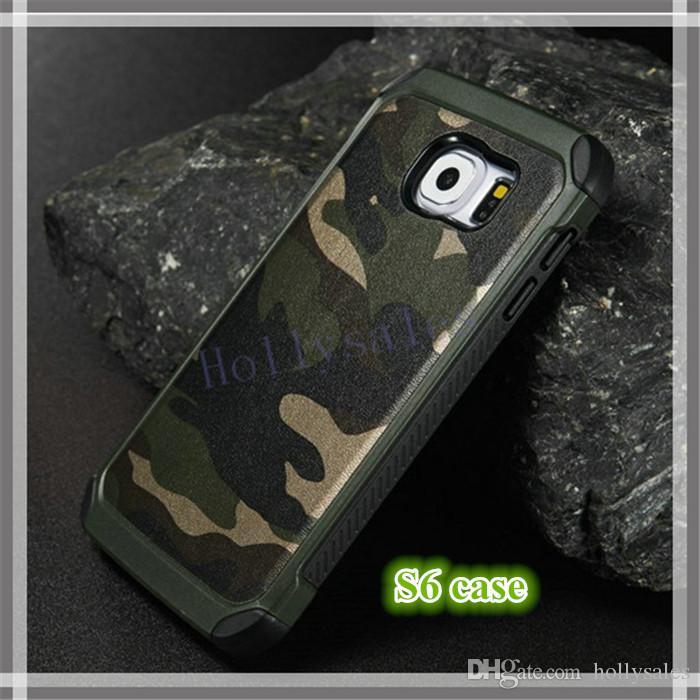 Para IP 6 / 6s cajas del teléfono celular TPU + PC camuflaje de lujo ejército camuflaje 2 en 1 Hybird contraportada para IP 5 / 5s / 6 / 6s / 6plus SAMSUNG S7 S8 Plus