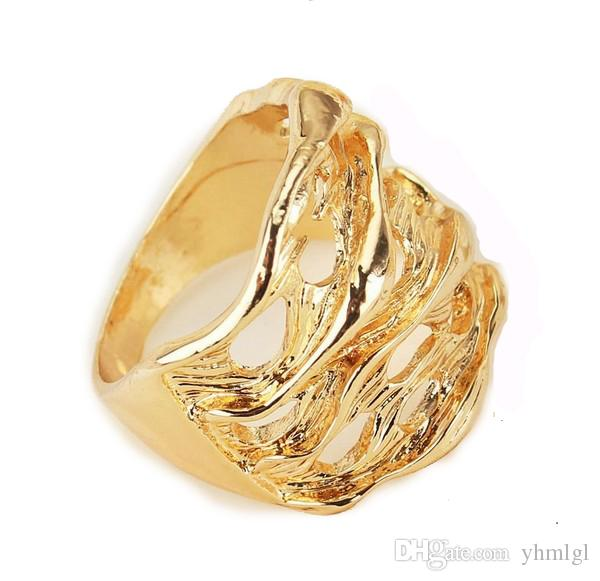 Romantic Women/Men Birthday Gift Fashion Rings 18K Gold Filled Attractive Designs Leaf Size 8.5