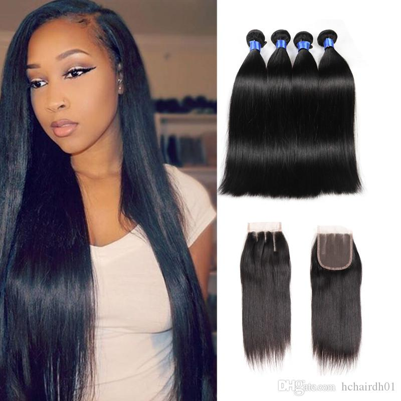 8A Malaysian Virgin Straight With Closure Unprocessed Brazilian Straight  Hair 4 Bundles With Closure Malaysian Human Hair Weave Thick Best Hair Weave  For ... c2a3ccda8