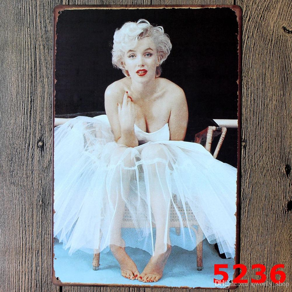 Sexy Lady of Marilyn Monroe Vintage Metal Tin Signs Painting Home Decor Wall Art Craft Sticker Bar 20x30cm