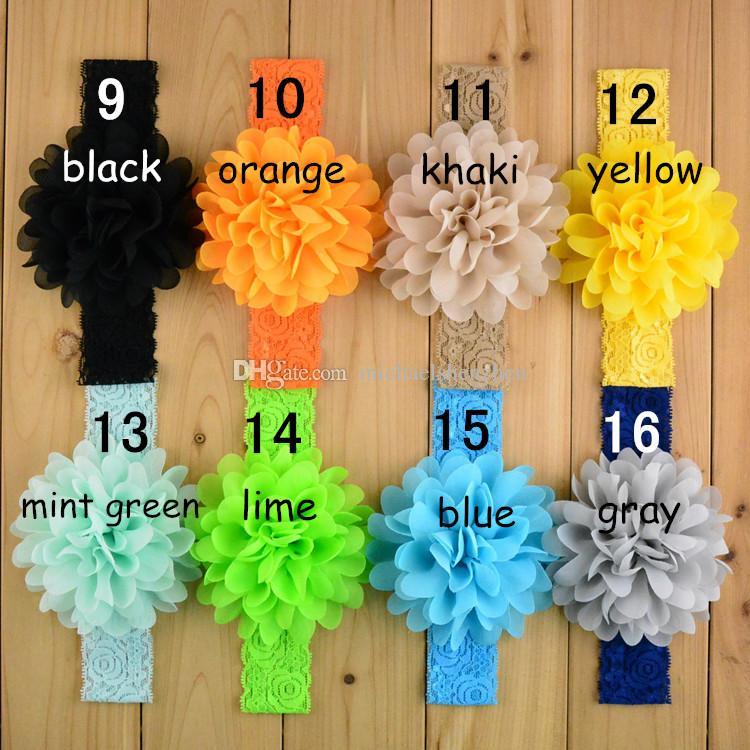 cordón del bebé banda de pelo de la flor color de la banda 16 de la seda de la cuerda del pelo de punto elástico de la venda bandas para la cabeza del bebé del pelo banda B001