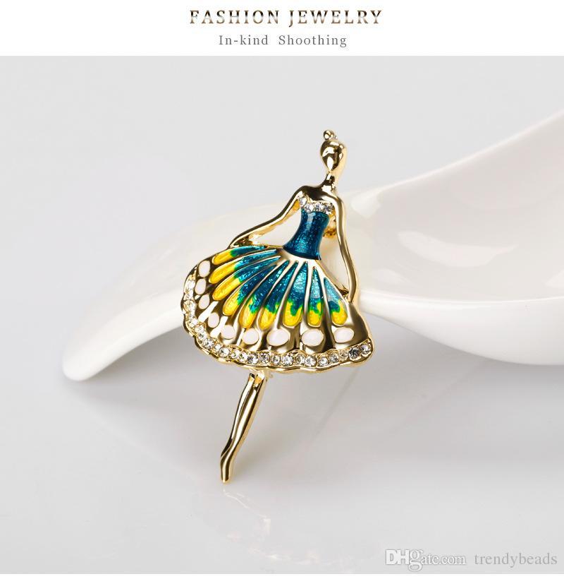Women Elegant Jewelry Blue Painted Dancing Ballet Girl Ballerina Brooch Zircon Rhinestone Brooch Pin