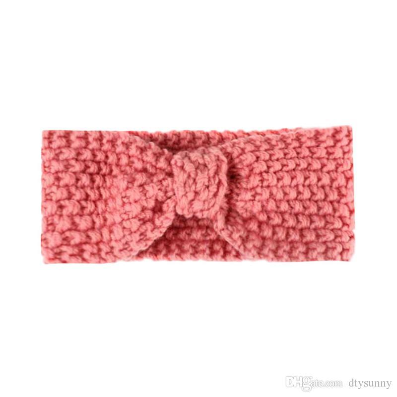 Venta caliente de invierno de lana de punto de la venda de los bebés niñas recién nacido cabeza de pelo banda wrap turbante headwear con botón accesorios para el cabello venta al por mayor