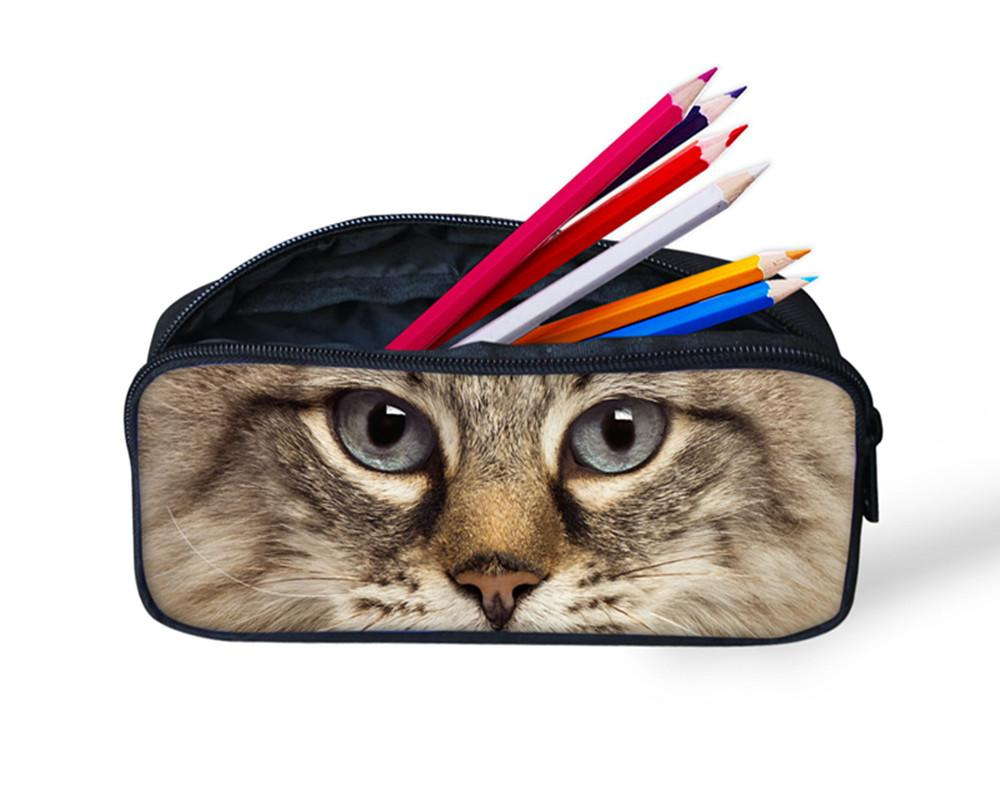 3D Animal Zoo Crazy Horse Print Women Make Up Bags Cute Cat Pencil Case Boys Girls Cosmetic Bag Kids Pen Pouch School Stationery