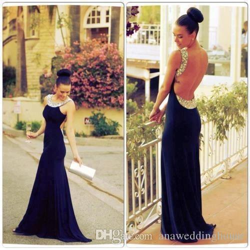 Nave Blue Sexy Evening Dress Prom gowns Mermaid Style Crew Back Hollow Vestidos De Festa Sparking Crystal Wedding party Dresses 2015
