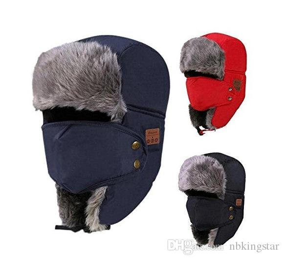 Winter Warm Wireless Bluetooth Music Beanies Hats with Headset Headphone Speaker Mic Caps Faux Fur Ski Motorcycle Windproof Hooded Hat