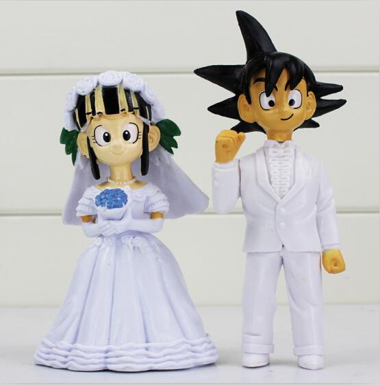 2pcs/set Dragon Ball Son Goku Chichi Wedding Figure Toys doll PVC Gift For Friends EMS Free shipping