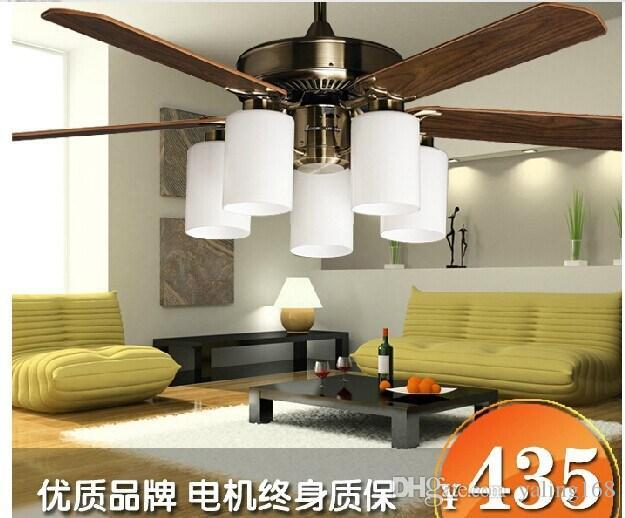 52 Inch Ceiling Fan Leaves Simple And Stylish Living Room Chandelier Fan  With Light European Retro Reversible