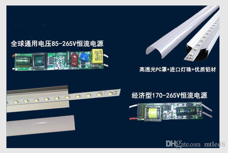 모든 액세서리와 통합 T8 주도 튜브 라이트 더블 행 양면 4피트 5피트 6피트 8피트 쿨러 조명 Led 조명 튜브 AC 85-265V