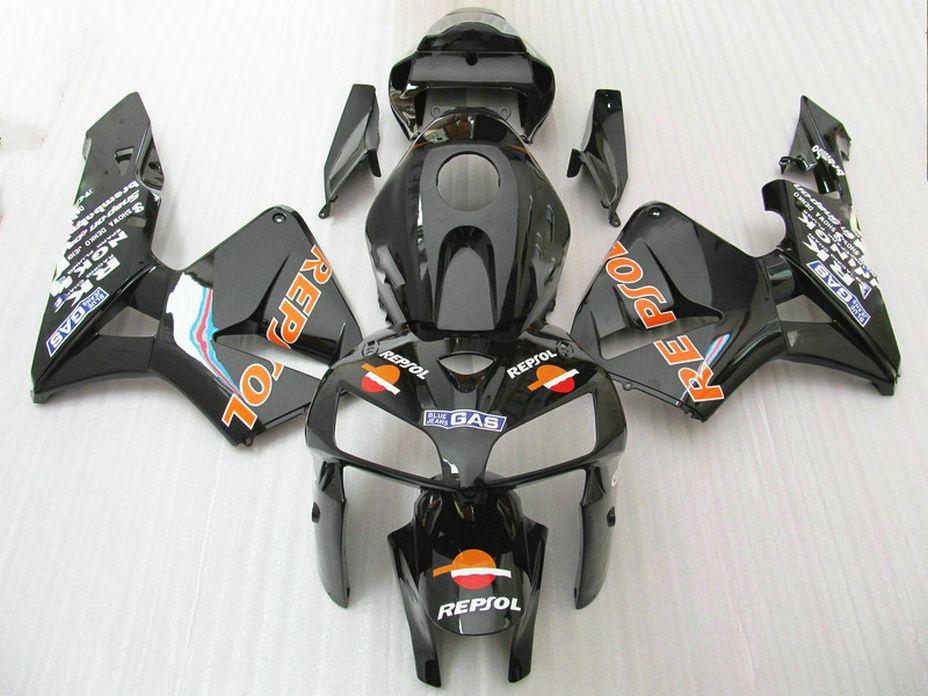 Carrocería de estilo Repsol negro brillante para Honda kit de carenado CBR600RR 2005 2006 CBR 600 RR CBR 600RR carenados 05 06 AHQE