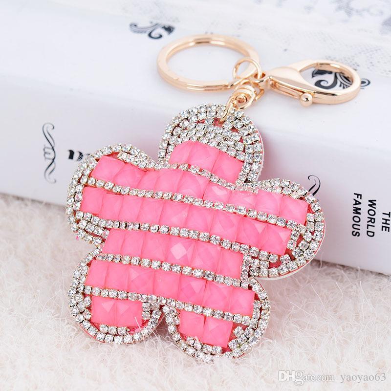 고급 금속 아름다운 꽃 다이아몬드 장식품 자동차 열쇠 고리 수공예품 레이디 가방 장식품