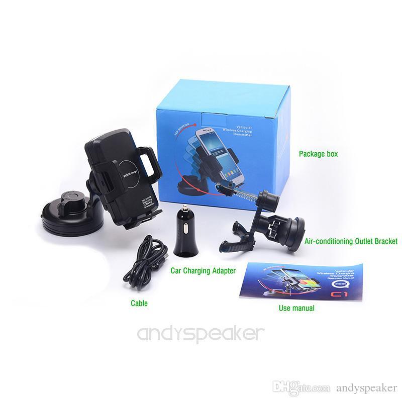 QI Caricabatterie wireless supporto da auto iPhone X 8 Plus Samsung Note 8 S8 Plus S7 edge C1 Caricatore da auto con scatola al dettaglio 10 pz / su