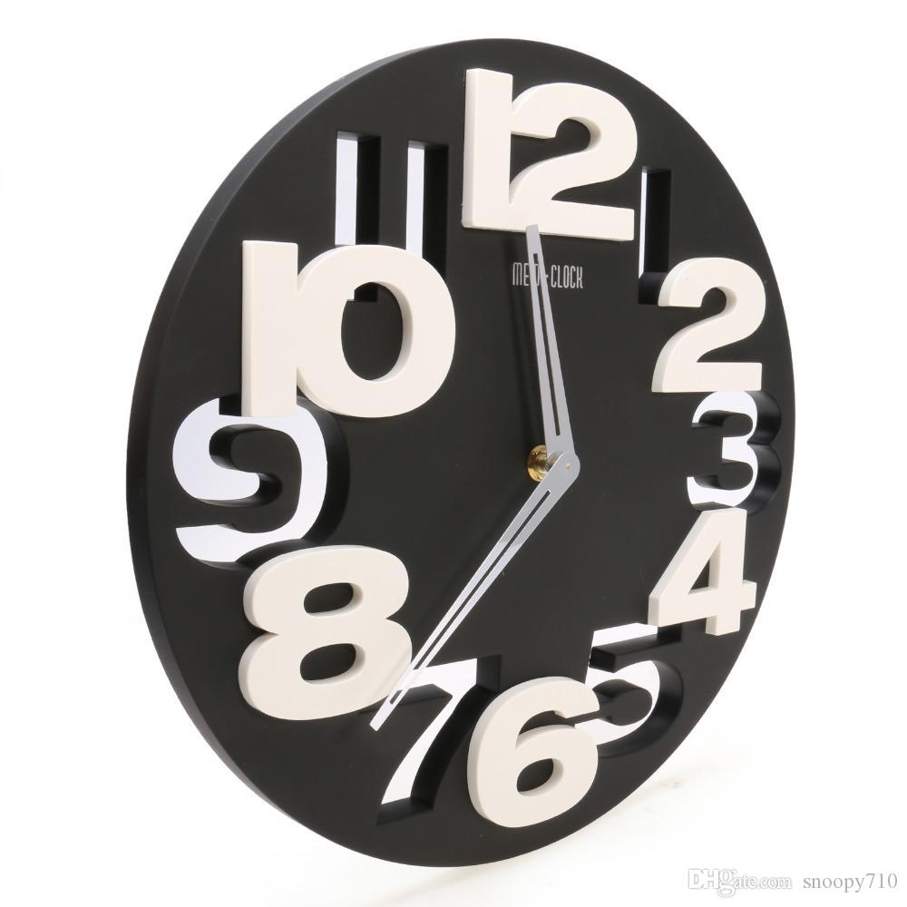 Whole Rounds Wall Clock Modern Design 3d Big Digit Contemporary Home Decor Black Kitchen Clocks Large From