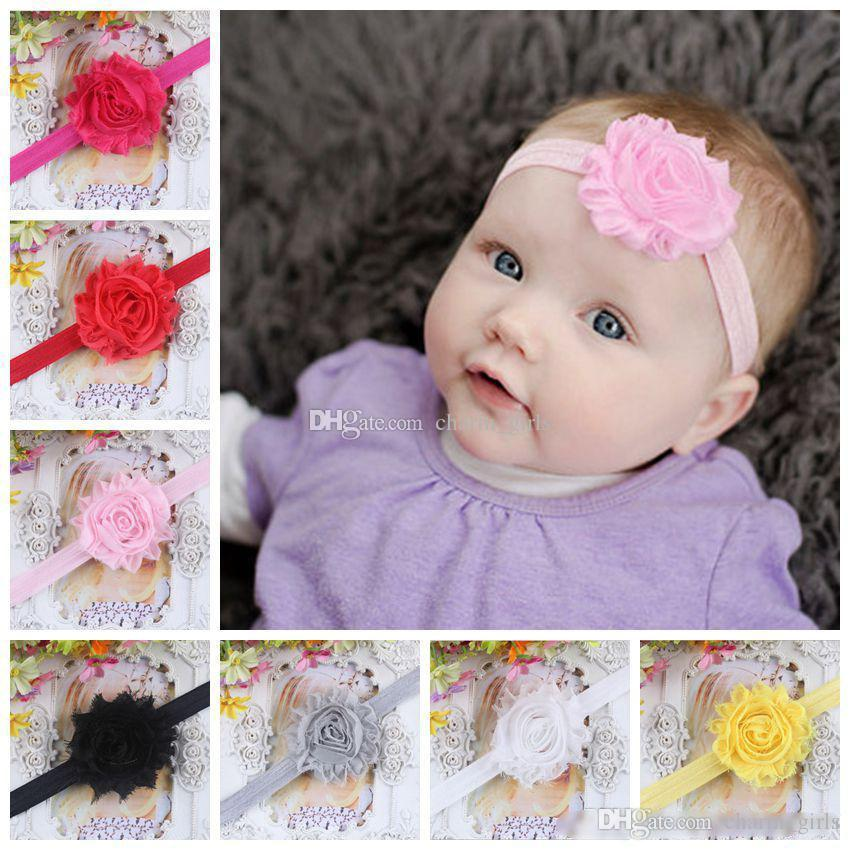 Beautiful Baby Shabby Flowers Baby Headbands Chiffon Fabric Flower Mix  Colors Children Hair Accessories Baby Flower Headband Online with   0.4 Piece on ... 18ace9111d7
