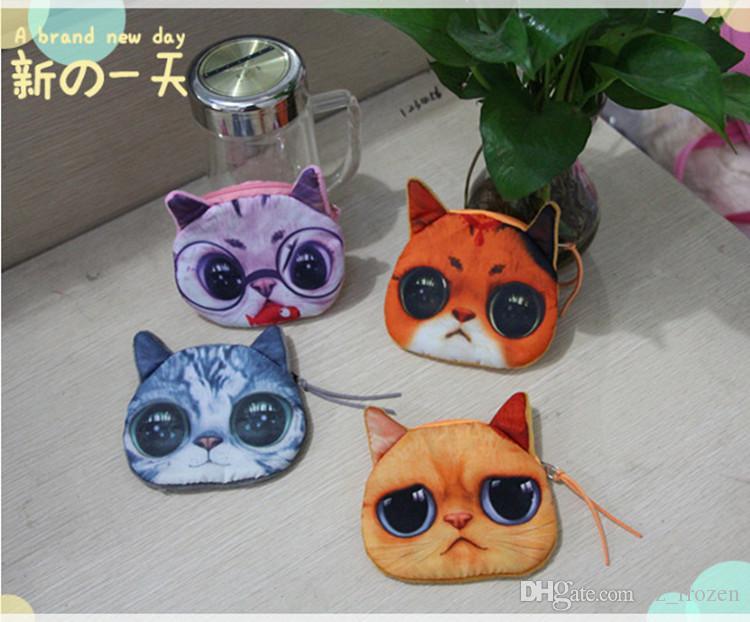 3D Katze cathead Geldbeutel meow Sternleute prägen bestes Geschenk der Schlüsselbeutelkatzenkarikaturhandtaschen-Mappenhalter freies Verschiffen A-0251