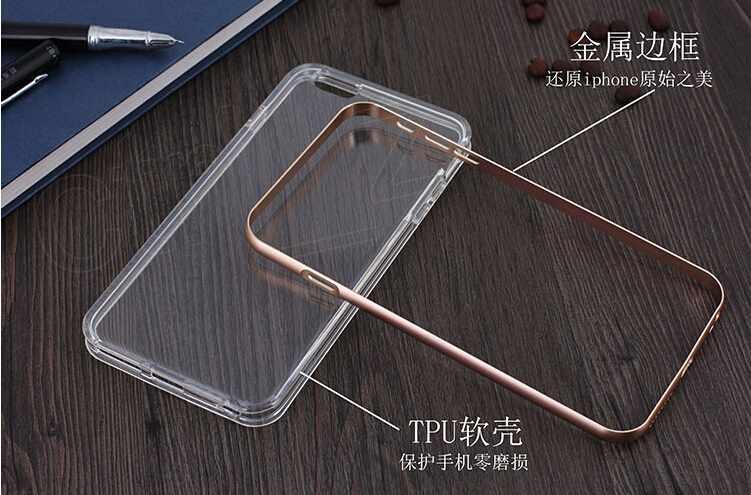 For iphone X 8 7 6 6s plus Hybrid Metal CASE Aluminium Frame Bumper Bumpers Soft Clear Transparent TPU cover case