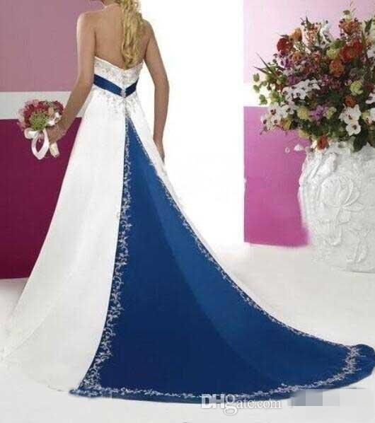 White Embroidery Wedding Dresses Navy Blue Ribbon Belt Evening Dress Sleeveless A Line Ball Bridesmaid Dress Plus Size Mother Pregnant Gowns