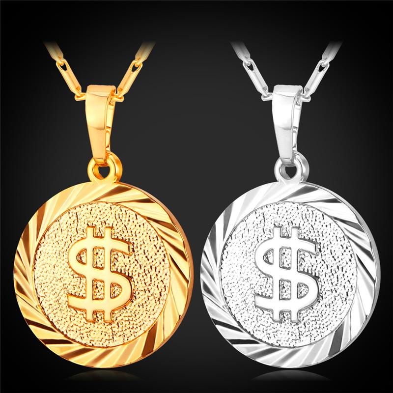 Wholesale New Round Dollar Pattern Pendant Necklace 18k Gold ...