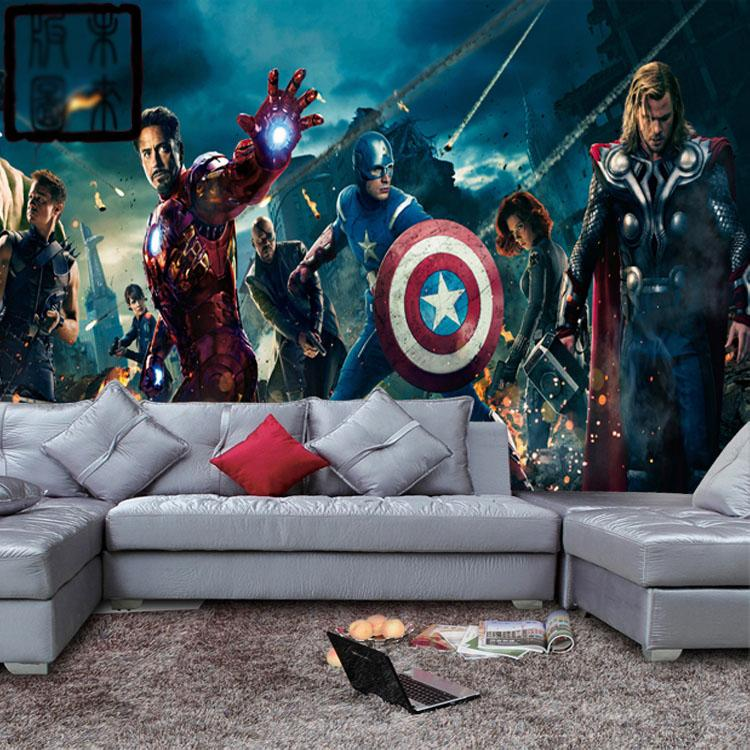 Marvel avengers heroes photo wallpaper 3d wall mural kids for Decor mural 3d
