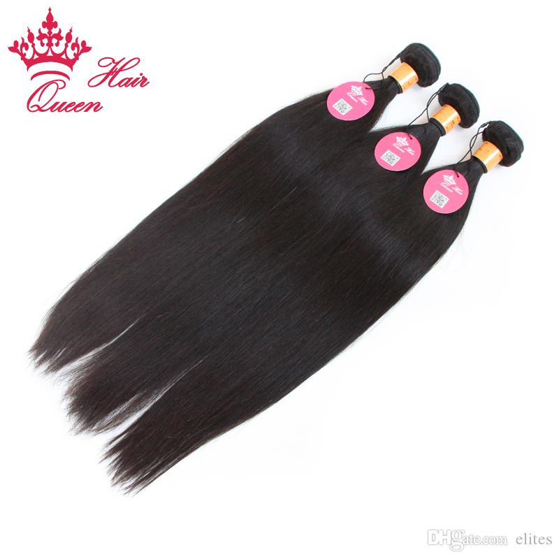 Queen Hair Indian virgin Straight human hair extensions machine weft best quality