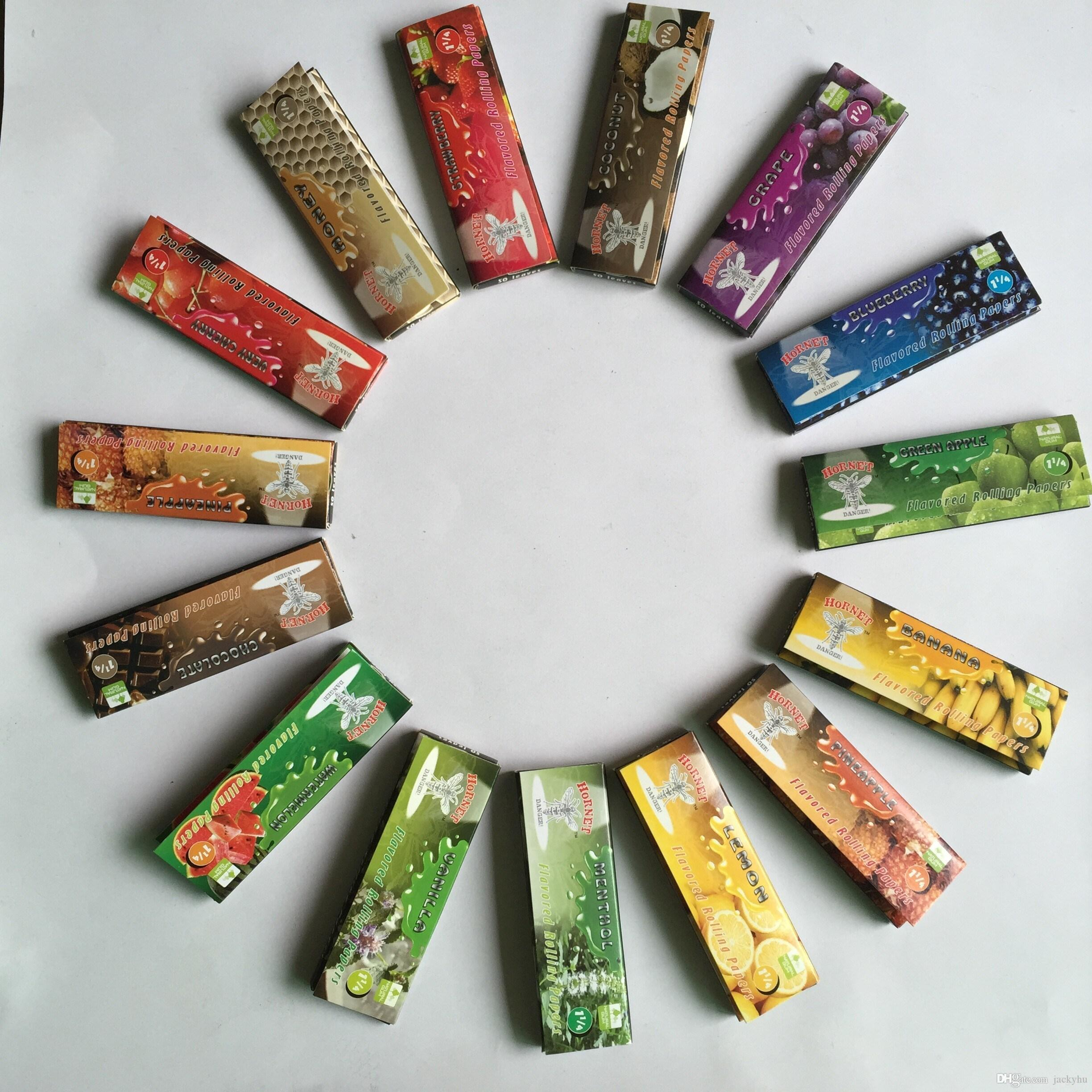 2017 15 kinds of 1 1 4 fruity flavored cigarette rolling papers 15 kinds of 1 1 4 fruity flavored cigarette rolling papers smoking pipe paper 50packs