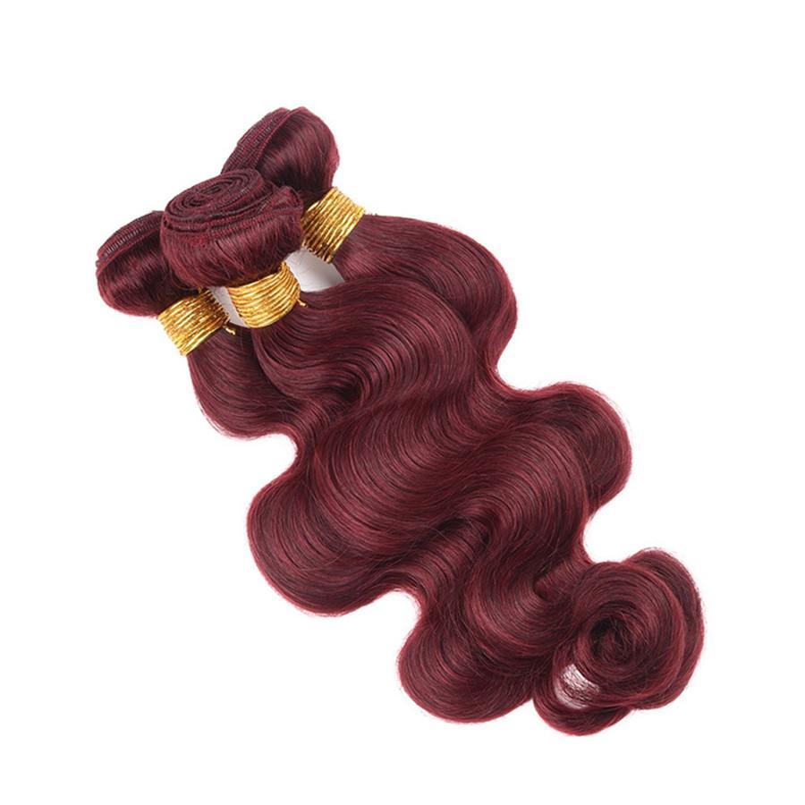 브라질 99j 인간의 머리카락 묶여 레이스 정면 폐쇄 9A 와인 레드 바디 웨이브 인간의 머리카락 위조 부르고뉴 3Bundles 13 * 4 전체 프런트