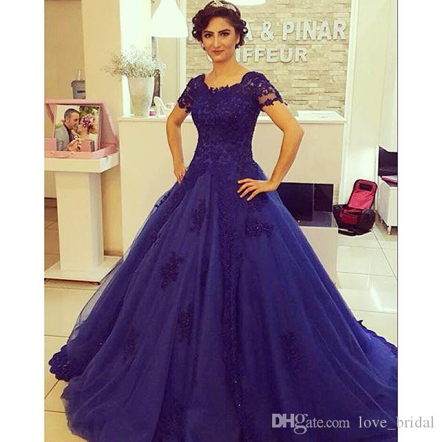 Short Sleeves Evening Dresses 2016 Ball Gowns Sweet 16 Quinceanera ...