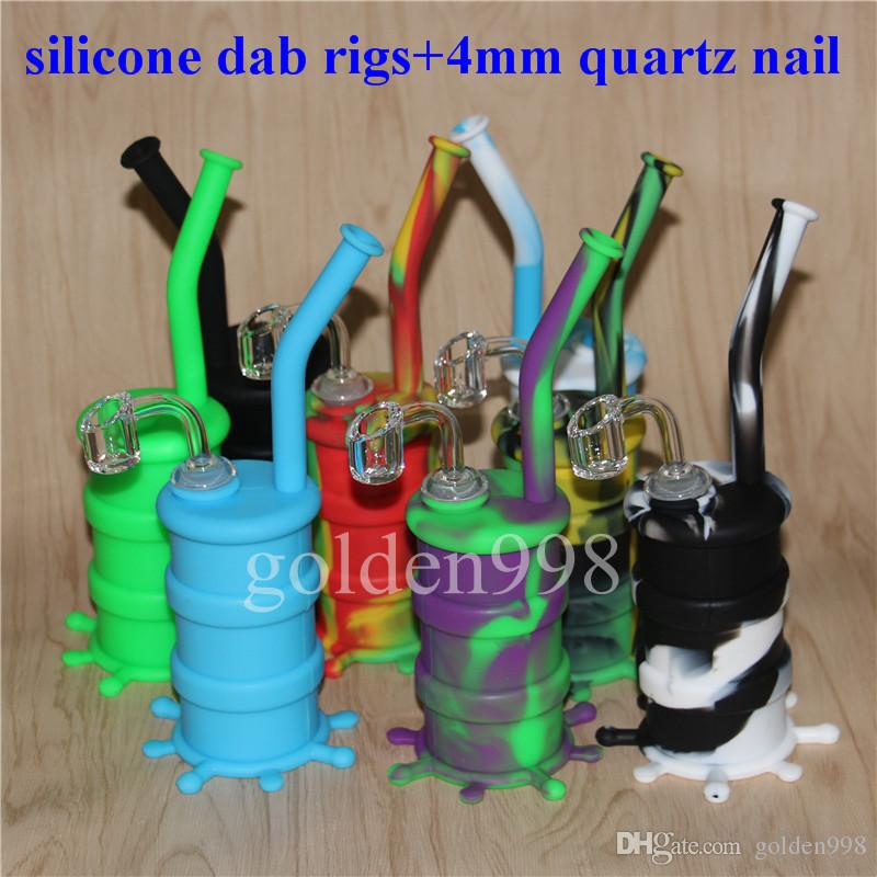 Free Popular Silicon Rigs Silicone Hookah Water Bongs Silicon Oil Dab Rigs Water Pipes With Clear 4mm 14mm Male Thickness Quartz Nails