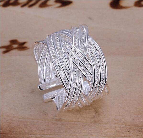 925 Sterling Silver Ring Fine Fashion Big Net Weaving Silver Jewelry Ring Women&Men Gift Finger Rings EH289