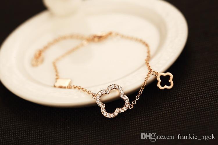 Mode Metall Gold überzieht Clovers Diamante Charm-Armband-Armbänder für Frauen-elegante Armband Female Fine Jewelry freies Verschiffen
