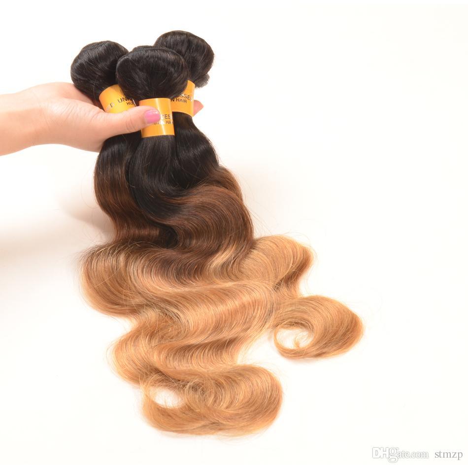 Peruvian Body Wave Ombre Hair 3/4 Bundles Wholesale Ombre Peruvian Hair Extensions 7a Grade Peruvian Ombre Weave