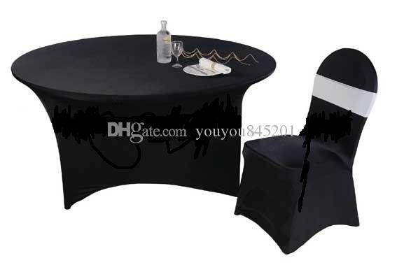5 stks veel 6ft ronde zwarte kleur spandex tafelkleed 210 gsm hoge kwaliteit voor bruiloft, feest, hotelgebruik