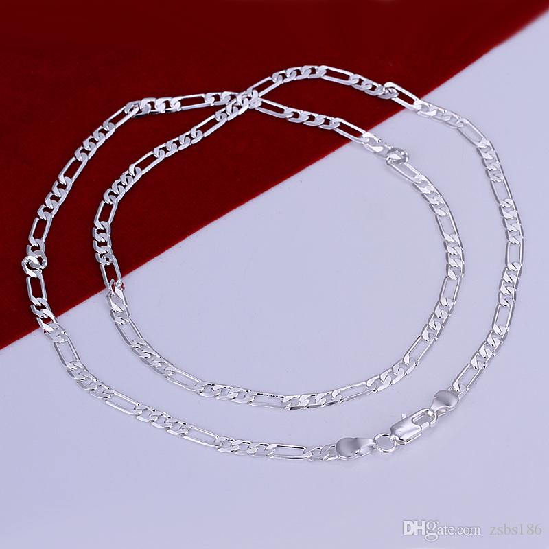 4MM Figaro chain necklace 16-30inches 925 sterling silver fashion jewelry for men Top quality factory price