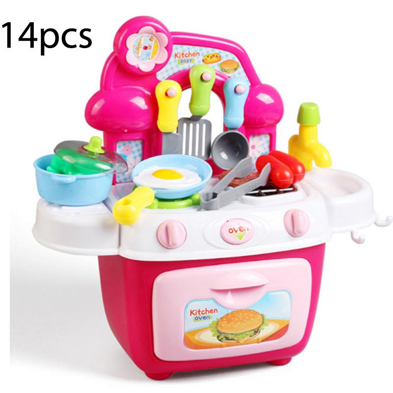Wholesale- New 14 Pcs Pretend Play Children\'s Kitchen Toy Kitchen Set With  Light Sound Simulation Cooking Dinner Tableware Plastic Toy