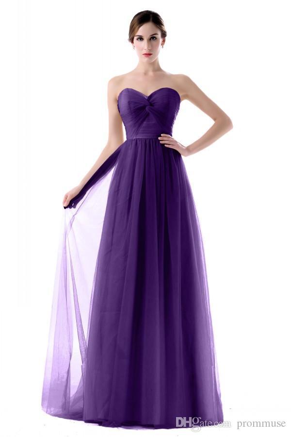 Compre 2017 Tul Púrpura Vestidos De Dama De Honor Baratos Longitud ...