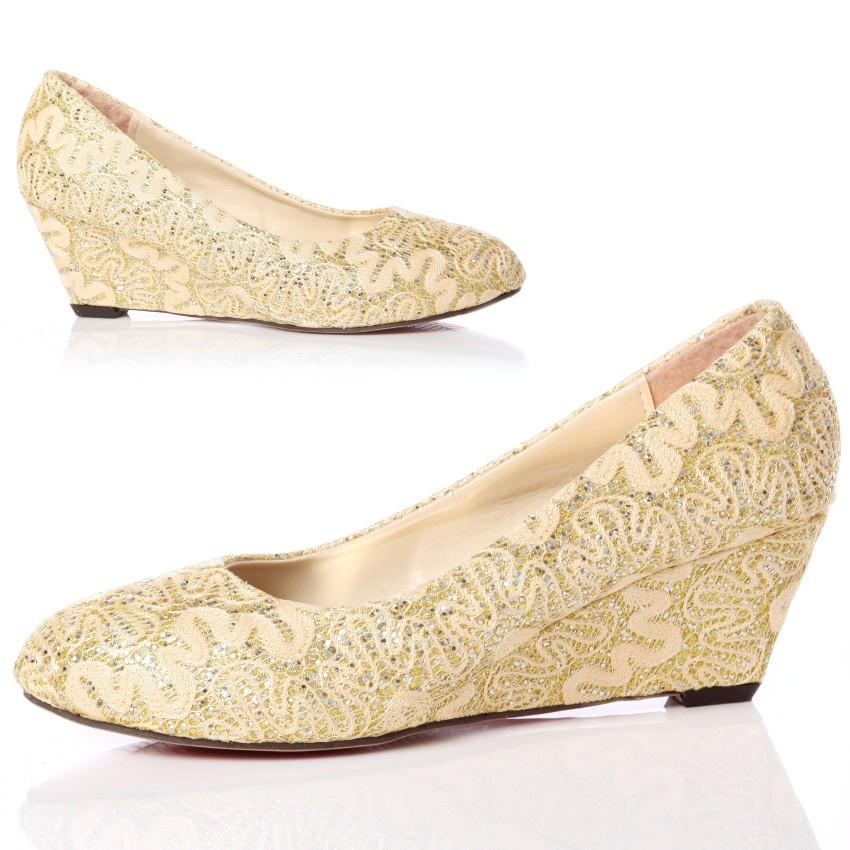 wedge heel wedding shoes closed toe wedge pumps gold lace wedding shoes with almond 1235