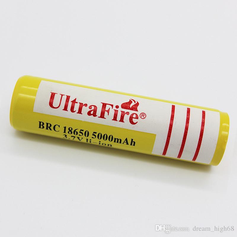 Giallo UltraFire 18650 ad alta capacità 5000mAh 3.7V batteria ricaricabile agli ioni di litio caricabatterie a batterie al litio fotocamera digitale torcia LED