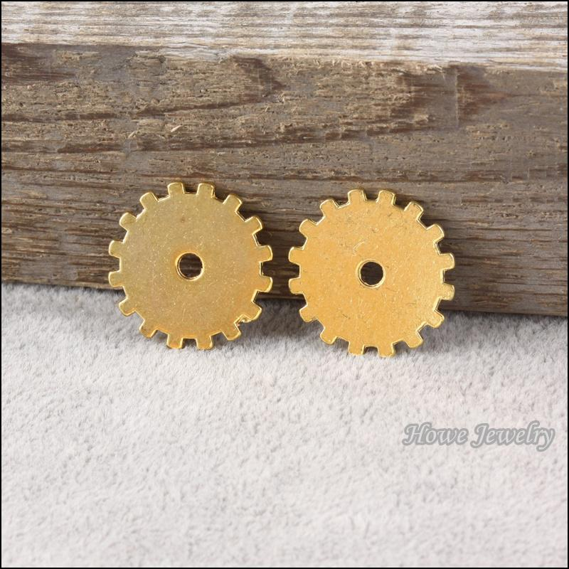 Vintage steampunk Gear alloy Pendant Gold color Metal Watch Accessories DIY Jewelry accessories Finding 20*20mm