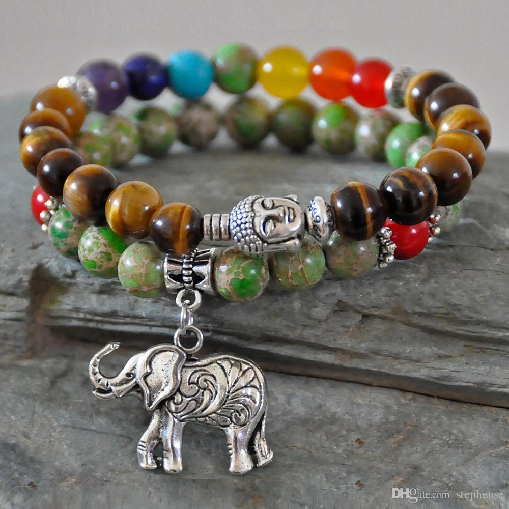 d4384a60de4 Acheter SNDe 2 Bracelet Bracelet Bouddha Chakra Bracelet Oeil De Tigre  Imperial Jasper Bracelet Charms De  32.49 Du Stephense