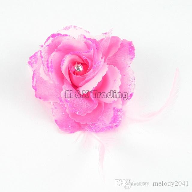 Nova Flor Falsa Glitter Em Pó Bonita Flor Artificial Decoração De Penas Strass Rose Mix Cores Navio Livre