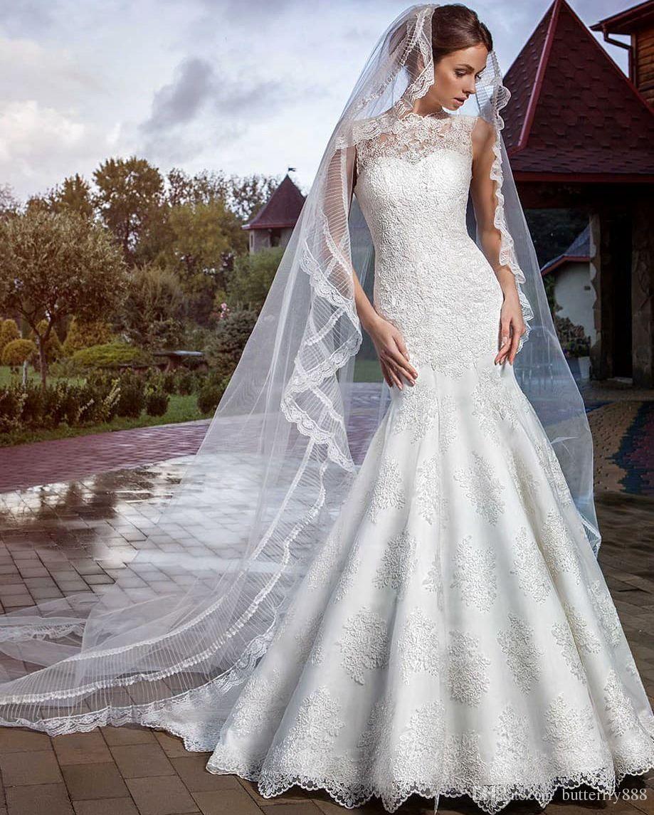 Großhandel Hohe Hals Weinlese Spitze Hochzeits Kleider 2016 Applique ...
