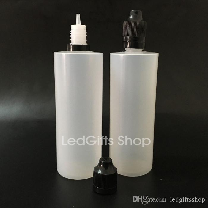 Great quality Ecigarette 120ML plastic LDPE Bottles With Long Thin Tip Dropper And Childproof Tamper Cap For Ejuice Liquid